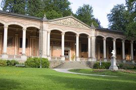 The 19th century Trinkhalle Baden-Baden is a classy place for drinking the waters of the thermal springs. 14 mural paintings in the arcade illustrate regional legends.